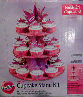 WILTON PRINCESS PRINTED CUPCAKE STAND, BAKING CUPS AND CROWN PICKS - new in box