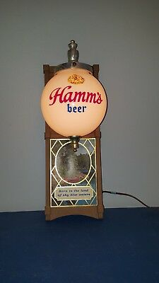 (VTG) 1960s HAMMS BEER GLOBE LIGHT UP WALL SIGN RED CANOE & WATER GAME ROOM BAR