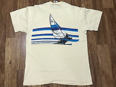 Vtg 80s Hobie Ocean Beach Sailing Surfer 100% Cotton Pocket T-Shirt L Made USA