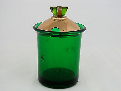 "Paden City Glass Star Cut Marmalade in Emerald Glo Green, 5 1/4"" tall"