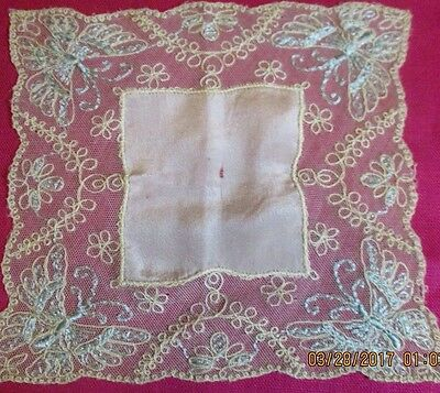 Antique Small Ivory Embroidered Butterfly Net Lace Wedding Hankie Silk Insert