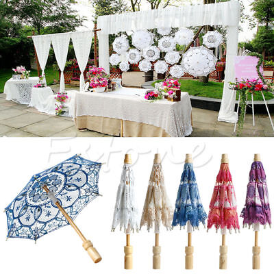 Embroidered Lace Parasol Umbrella For Bridal Wedding Party Decoration