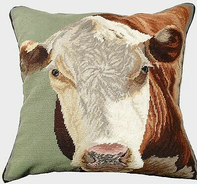 Needlepoint Pillow Cow