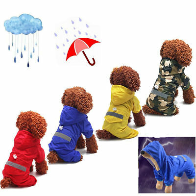 Pet Dog Rain Coat For Puppy Waterproof Jacket Rainwear Hooded Reflective Clothes