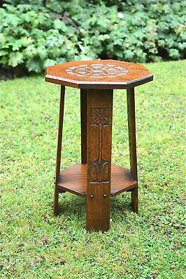 Small original Arts and Crafts hand carved oak plant stand side lamp table