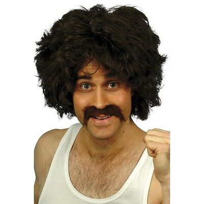 NEW Retro Wig and Moustache Tash - Mens Disco 1980s Fancy Dress Accessory