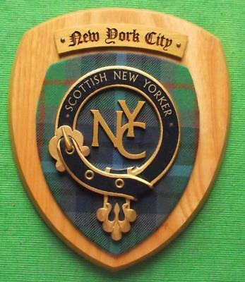 Old Scottish Custom Carved Oak Clan Lamont New York Scot Plaque Crest Shield