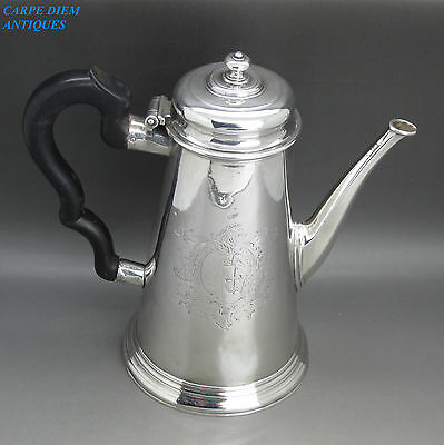 Antique Good George Ii Solid Sterling Silver Coffee Pot By W.darker, London 1730