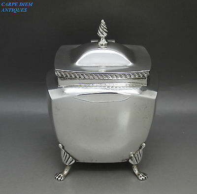Antique Superb Solid Sterling Silver Tea Caddy Box, W.aitken, Chester 1900