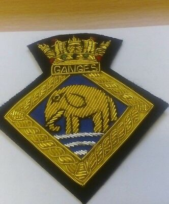 RN BULLION GOLD WIRE ROYAL NAVY GUNNERY BRANCH BLAZER BADGE