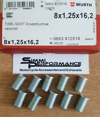 10 x WURTH M8 x 1.25 TIME SERT INSERTS  16.2m length - for Thread Repair