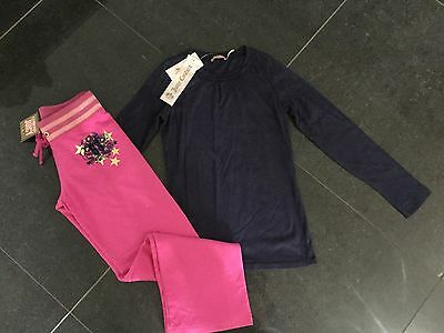 NWT Juicy Couture New Girls Age 8 Pink Cotton Pants & Blue Cotton T-Shirt