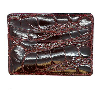 Distressed Burgundy Cognac Glazed Genuine Alligator 5 Pocket Card Case USA MADE