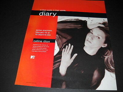 CELINE DION Diary SERIES PREMIERE February 16, 2000 PROMO POSTER AD mint cond