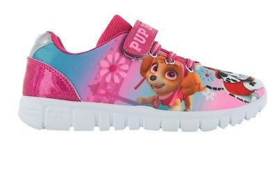 Girls Paw Patrol Pink Glitter Wipe Clean Casual Trainers Shoes Sizes 8-13 Child