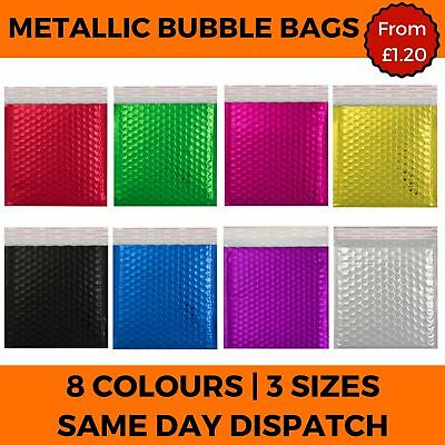 Metallic Bubble Envelope Bags Foil Gloss Postal Padded Coloured Pouch 8 Colours
