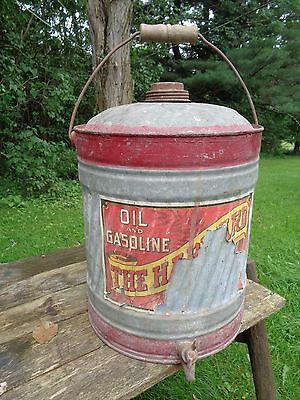 Antique GALVANIZED metal GAS OIL 5 Gal CAN THE HARVARD? paper label red stripes