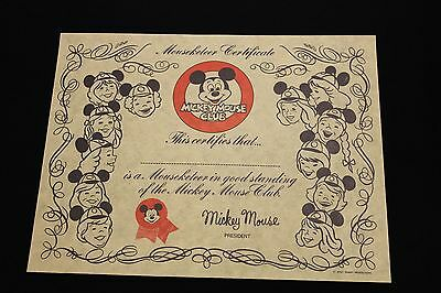 Vintage Mickey Mouse Club House Mouseketeer Certificate Walt Disney Productions