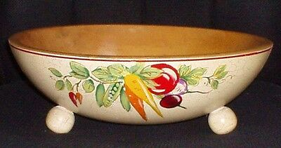 Robinhood Ware Carved Wooden Footed Bowl 813 Hand Painted Vegetables Crackle USA