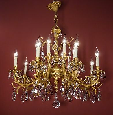 Wow Huge Chandelier Crystal Gold Bronze Strange Ornamentic