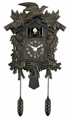 New Acctim Hamburg Cuckoo Pendulum Bronze Wood Effect Antique Wall Clock