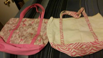LOT of 2 Breast Cancer Tote Bags Lg