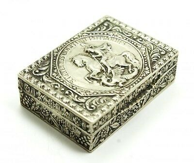 Charming Antique c1900 Italy 800 Silver Saint George & The Dragon Repousse Box