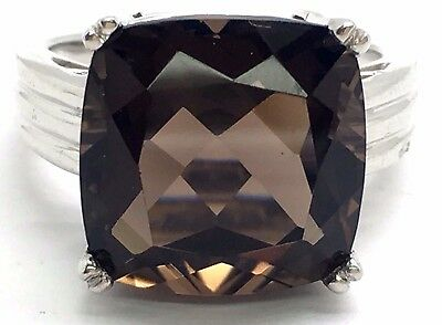Sterling Silver Cushion Faceted Smoky Brown Topaz Three Row Band Cocktail Ring