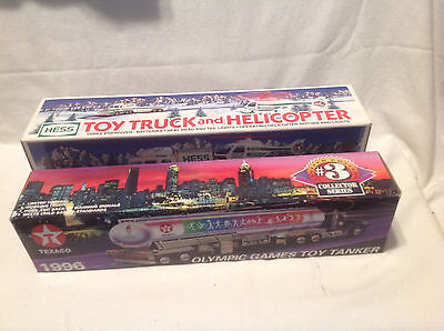 1995 Hess Truck/helicopter-1996 Texaco Olympic Games Toy Tanker-Atlanta Nib