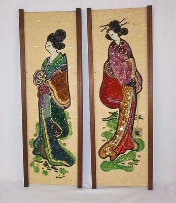 Pair Vtg Mid Century Gravel Art Wall Hanging Japanese Geisha Asian Oriental