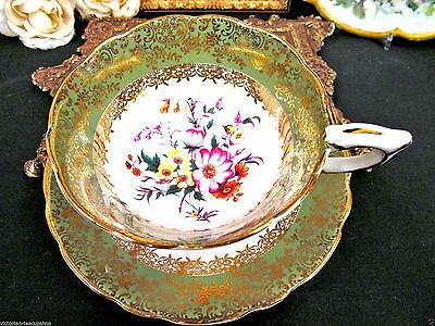 Royal Stafford Tea Cup And Saucer Green & Floral Pattern Teacup Wide Mouth