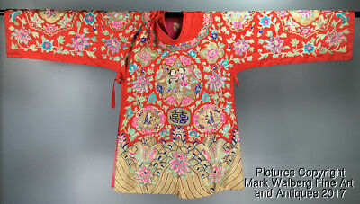 Chinese Womens Embroidered Red Silk Marriage Robe, Boys & Flowers, Early 20th C.