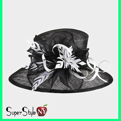 Feather Accented Bow Sinamay Kentucky Church Fashion Ribbon Design Derby Hat