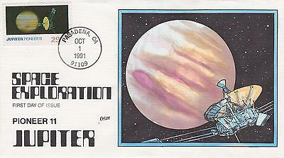Collins Hand-Painted Fdc First Day Cover 1991 Space Exploration Pioneer Ii Jupit