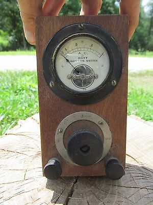 Antique Hoyt Growler Meter A.C. Old Wooden Auto Motor Testing Equipment Nice NR!