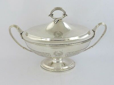 High quality GEORGIAN SILVER SAUCE TUREEN with COVER London 1797 Frisbee Crested