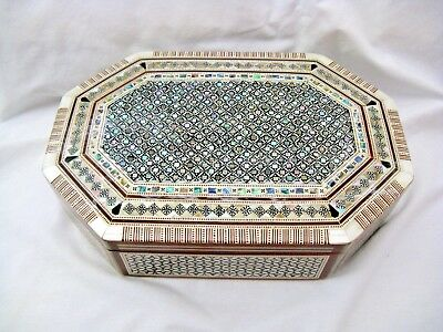 "Egyptian Octagonal Mother of Pearl Wooden Inlaid Jewelry Box 11 X 7.5"" #552 Sale"