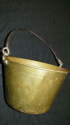 ANTIQUE VINTAGE BRASS METAL BUCKET PAIL Apple Butter Hearth Home