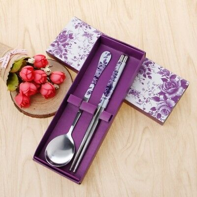 New Stainless Steel Spoon Chopsticks Set Green Leaf Tableware With Box