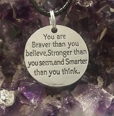 """Wow - Silver Plated """"you Are Braver Than You ....."""" Disc On 44 Cm Ext Black Cord"""