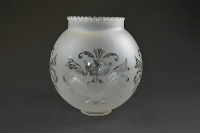Antique etched frosted glass oil lamp shade globe 1