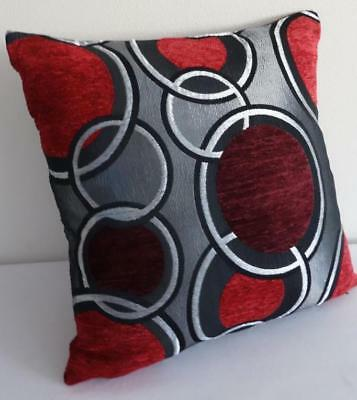 Grey Red Black Burgundy Retro Circles Chenille Texture Cushion Cover 45cm
