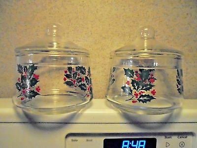 2 Vintage Indiana Clear Glass Holly Berry Lidded Candy Dish Jar w/Lid Containers