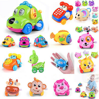 12pcs Baby Kids Clockwork Funny Toy Cartoon Puppy Clockwork Car Educational Toys