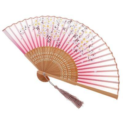 Folding Painting Flower Bamboo Cloth Hand Fan Gift for Wedding Birthday