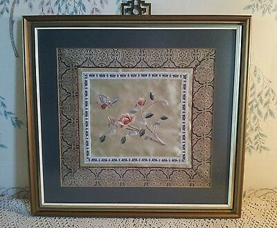 Vintage  oriental Silk Embroidery in glazed  frame   Flowers butterflies