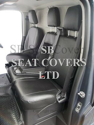 To Fit Ford Transit 2016, Van Seat Covers, Ash Black Leatherette