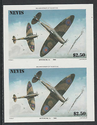 Nevis 4935 - 1986 SPITFIRE $2.5 IMPERF PAIR unmounted mint