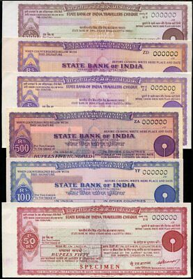 State Bank India Travellers Cheque Set 6 Unc 50 100 500 1000 Rupees Specimen