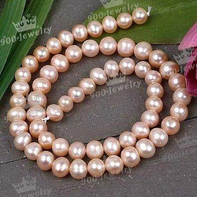 7-8Mm Cultured Freshwater Orange Ball Loose Pearl Beads For Jewellery Craft Diy